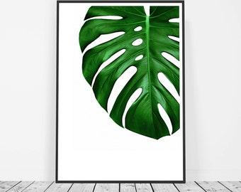Botanical Leaf Print, Green Tropical Leaf Print, Leaf Printable Art, Botanical Leaf Wall Art, Monstera Leaf Art, Botanical Wall Print
