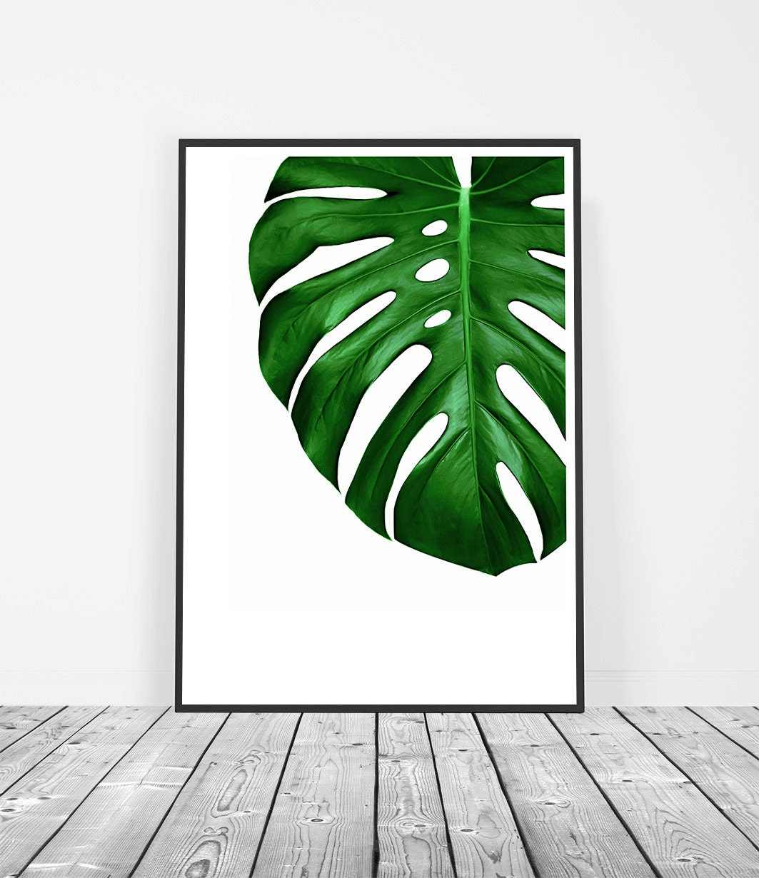 Watercolor Green Plants Monstera Nature Posters And Prints: Tropical Leaf Print Tropical Decor Monstera Leaf Print Wall