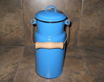 Vintage Enamelware Bold Blue Milk Jug