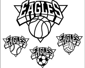 Eagles Shield Basketball, Baseball, Volleyball, Soccer Pack Download Files - SVG, DXF, EPS, Digital Cut Files -Use with Cricut, Silhouette