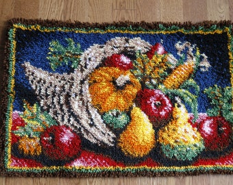 Thanksgiving cornucopia with pumpkins, apple, squash, corn latch hook rug or wall hanging
