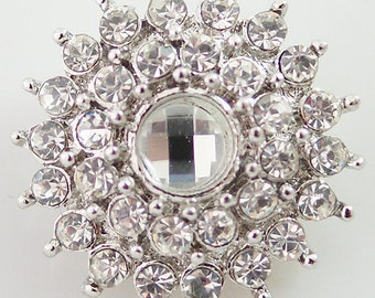 Item# 8605--- 20mm Clear Rhinestone Sunburst Snap (FREE Shipping Coupon Code in Description)