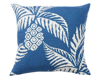 Relaxed Pineapple Blue Linen Cushion in Navy 45 x 45 cm square