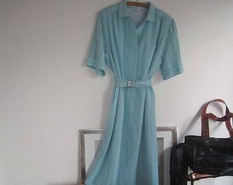 Vintage 80s dress dress robe with wool Delmod L