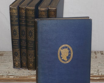Pageant of America,1927,set of 6,antique history book set,Yale University Press,Old vintage blue books decor larger book History of USA