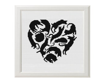 Heart Cats Cross stitch pattern cat love gift Instant Download PDF