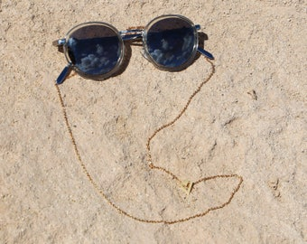 Stainless Steel Chevron Sunglass Strap | Eyeglass Cord | Gold Silver Eyeglass chain | Sunglass Lanyard | Chevron Triangle Pendant Sun Strap