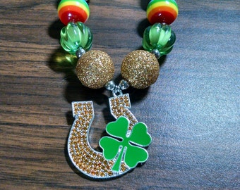 Lucky Charm Horseshoe Shamrock St Patrick's Day Chunky Girls Bubblegum Necklace.  Gumball Necklace