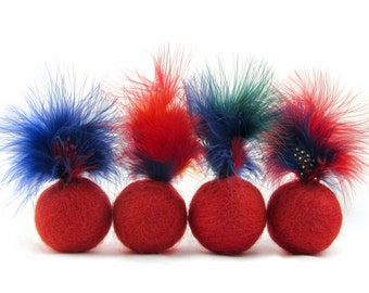 Red felted wool feather ball cat toy