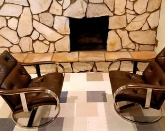 2 Mid Century Gardner Leaver Steelcase Lounge Chairs Leather & Nickel