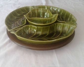 California Pottery leaf 5 piece lazy susan