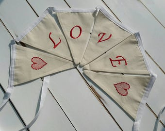 Embroidered Wedding Love Banner, Love Material banner, Love Garland, Love Banner, Engagement Banner, Embroidered Banner, Embroidered Bunting