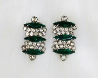 Vintage Kramer Emerald Rhinestone Earrings