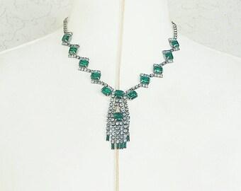 Vintage Emerald Rhinestone Necklace