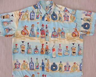 Hawaiian Shirt Men KAHALA Tequila Sunrise Novelty Bottles Tropical Desert Vintage Aloha Party Shirt - 3XL - Oahu Lew's Shirt Shack