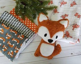 Fox swaddle Blanket, Fox Baby Gift Set, Fox Baby blanket, Baby Boy Gift, Baby Boy Shower Gift, Fox burp cloths, Fox stuffed animal