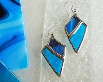 stained glass TURQUOISE earrings