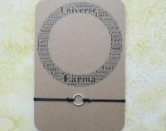 Sterling Silver Karma Bracelet, Spiritual Bracelet, Cord Bracelet, Circle of Life Bracelet, Sterling Silver Karma Charm, Birthday Gift