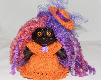 "4.25"" Dark Troll Doll, New Hair, Orange Eyes, Knit Dress, Panties, Hat Clip"