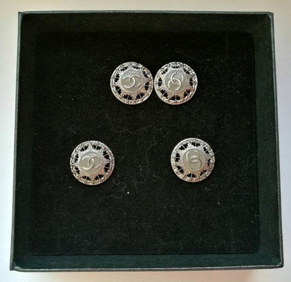 Lot of 4x D16mm Authentic Chanel CC logo metal button