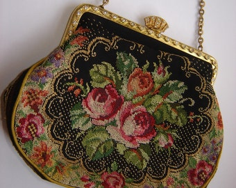 Very sweet little evening bag - tapestry with brass bow and rhinestone