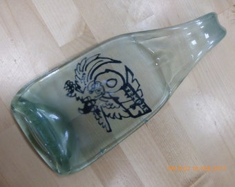 Hand Painted Temple Owls Melted Bottle