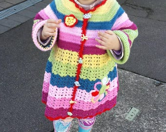 Colourful crochet jacket and hat set