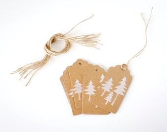 Pine Tree Gift Tag Evergreen Tree Gift Tag Winter Gift Tag  Woodland Gift Tag  Brown Gift Tag Woodland Christmas Tag White Christmas