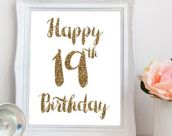 Happy 19th birthday PRINTABLE, happy 19th sign printable, printable 19th birthday, printable happy 19th birthday sign, INSTANT DOWNLOAD