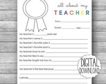 All About My Teacher PRINTABLE / Teacher Appreciation Printable / Elementary Teacher Gift Printable / End of School Year / Teacher Printable
