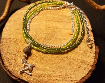 Green Bow bracelet - bracelet MultiRow - beads, silver plated chain and bow charm