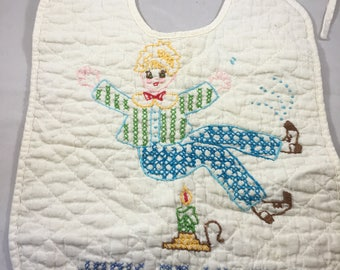 Vintage Mid Century Cross Stitched Nursery Rhyme Jack Be Nimble Cotton Bib