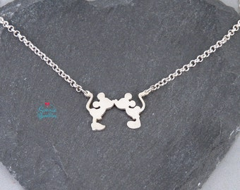 Mickey Mouse Disney Necklace | Mickey mouse Minnie mouse Disney Necklace | Disney Jewelry | Kiss Minnie mouse Mickey Mouse Disney jewelry