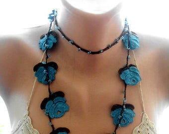 crochet necklace, crochet blue necklace, crochet lace jewelry, flower necklace,gift for her
