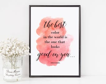 Chanel quote, coco chanel quote, the best color, chanel print, chanel prints, fashion print, fashion prints, chanel poster, chanel sign