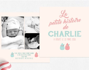 Drops of water - colors, pastels, announcement birth announcement not dear girl, pink girl invitations, invitations daughter pastels
