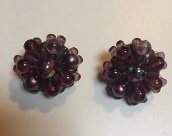 German Purple Beaded Clip On Earrings