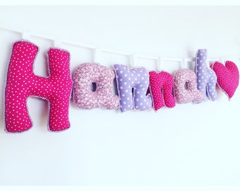 Personalized pink & purple name sign,name banner,name bunting,nursery decor,letter bunting,nursery wall hanging,gifts for kids,new baby gift