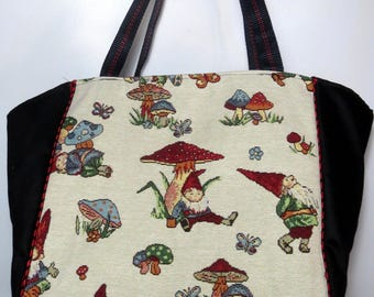 "tote bag ""garden gnomes"", unique piece"