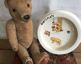 Vintage Babys first plate. Antique baby's Nursery plate.