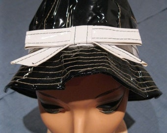 Vintage 1960s Mod Black and White Patent Rain Hat
