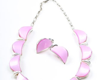 1950s Signed 'Star' Pink Stone Necklace and Earring Set