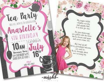 Tea Party Invite; Tea Party Birthday, Aternoon Tea, Morning Tea Party