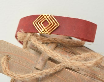 Burgundy Leather Choker Collar Necklace with Geometric Slider, Leather Wrap Necklace, Tie Up Bolo Necklace, Wrap Choker, Leather Jewelry