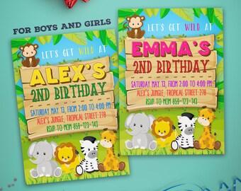 Jungle Birthday Invitation - Jungle Party Invitation - Jungle Invitation - Zoo Party Invitation - Zoo Birthday Invitation - Boys And Girls