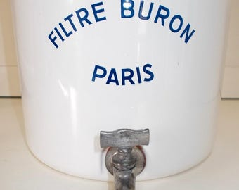 French Enamel Water Filter System. Filtre Buron PARIS.  1940's French water filter. White enamel, Blue writing.
