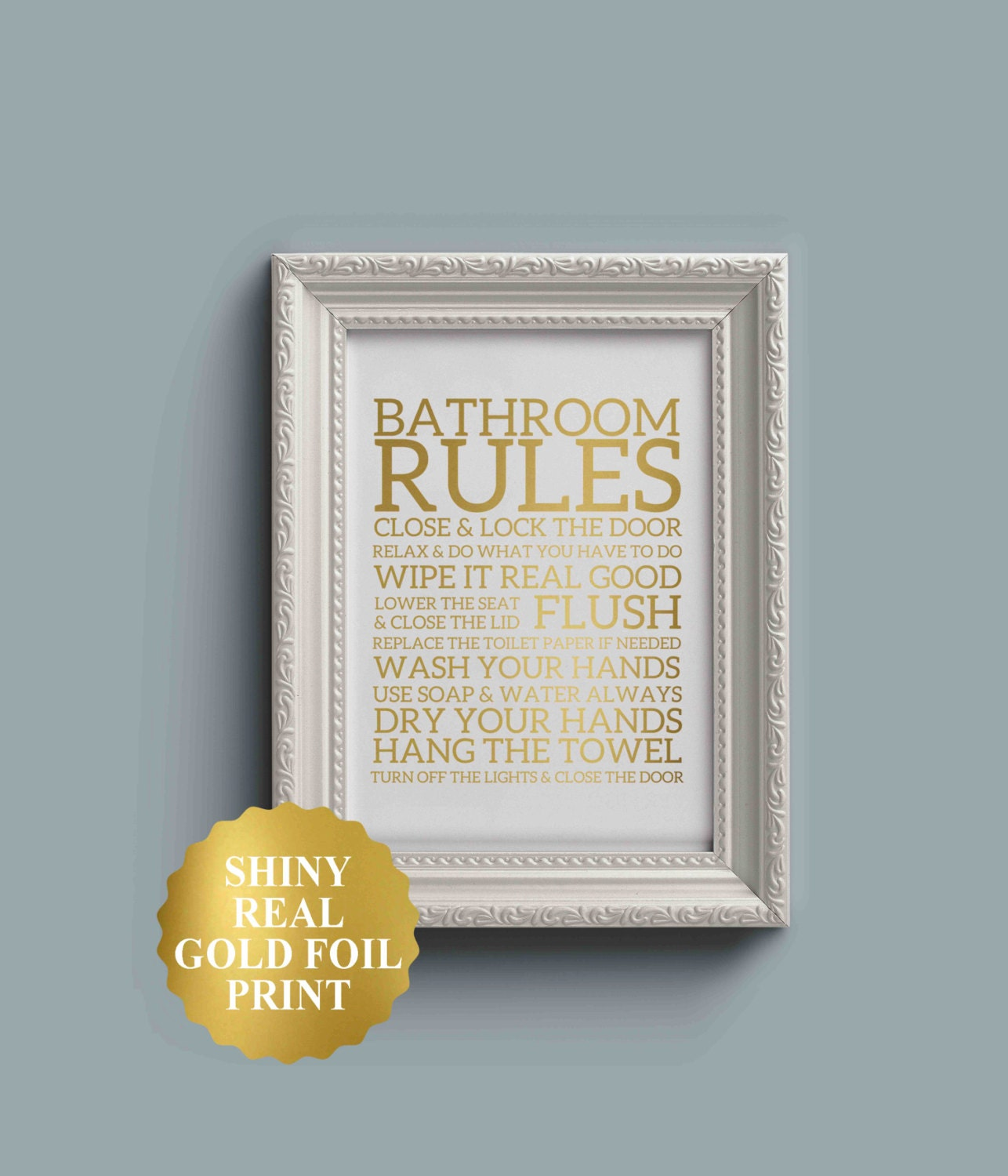 Bathroom rules print bathroom wall decor gold foil bathroom for Bathroom decor rules