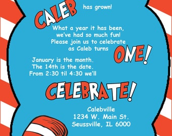DIGITAL* Dr. Seuss Birthday Party Invitation