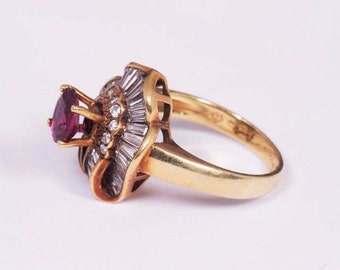 14K Yellow Gold app. 2ct. tw. Ruby and Diamond Ring, size 6