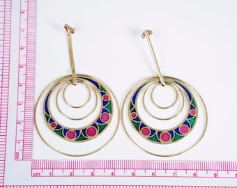 18K Yellow Gold Large Dangling Hoop Earrings with Multi Colored Glass